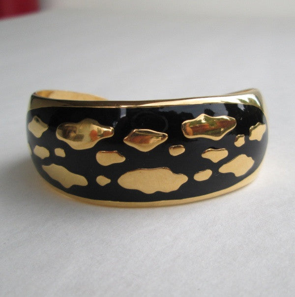 Abstract Black Enamel Goldtone Cuff Bracelet Clouds Classy Jewelry