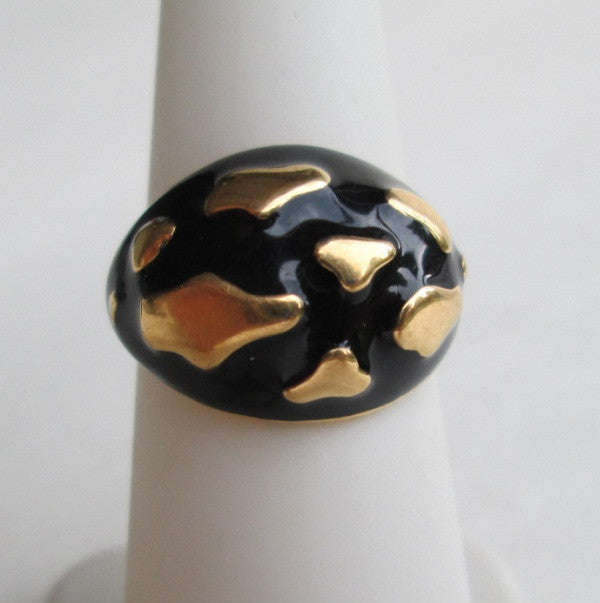 Abstract Black Enamel Goldtone Ring Size 6 Clouds Classy Jewelry