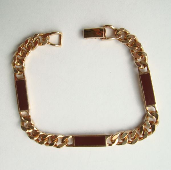 AVON Carnelian Glass Panel Curb Link Bracelet 8 inches Jewelry