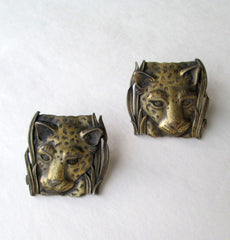 JJ Antiqued Brass Lion Earrings Post Style 1986 Vintage Figural Jewelry