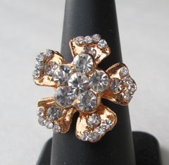 Dogwood-Shaped Rhinestone Cocktail Ring Adjustable Rose-Gold Washed