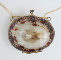 Opihi Shell Locket Pendant Necklace Pill Box Marine Jewelry