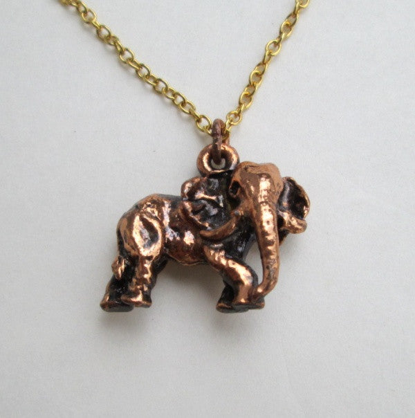 Copper Elephant Charm Pendant Necklace Figural Jewelry