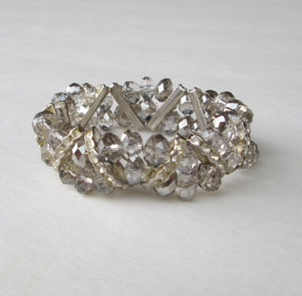 Vintage Crystal Rhinestone Expansion Bracelet Geometric Prom Wedding Jewelry
