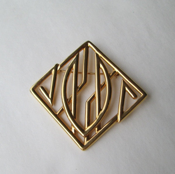 Monet Retro Art Deco Style Brooch Pin Goldtone Designer Jewelry