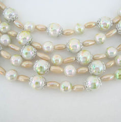 Japan 5-Strand Pearl Necklace Iridescent Green Vintage Jewelry