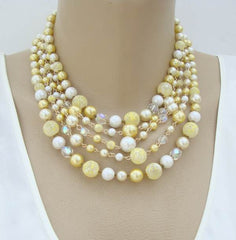 Japan 5-Strand Yellow Green White Art Bead Necklace Vintage Jewelry