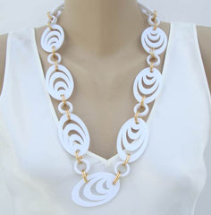 Hong Kong White Nested Ovals Necklace or Belt Retro Vintage Jewelry