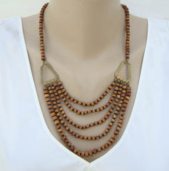 Wood Bead Swag Necklace Brass Accents Lightweight Vintage Jewelry