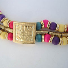 Egyptian Revival Style Belt Multicolor Silk Beads Vintage Jewelry