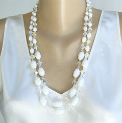 Long White Molded Glass AB Crystal 2-Strand Necklace Vintage Jewelry
