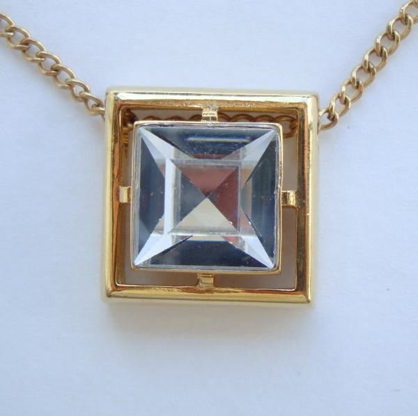 Avon Square Glass Crystal Slider Pendant Necklace