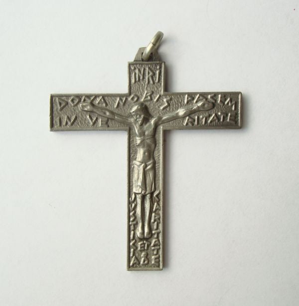 Pewter Crucifix Cross Necklace Pendant Many Inscriptions Religious Jewelry