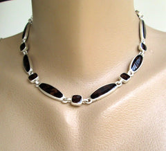 Klein Anne Link Necklace Brown Art Glass Matt Silvertone Designer Jewelry