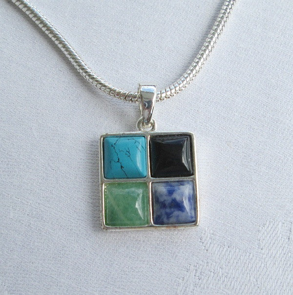 Roma Gemstone Pendant Necklace Turquoise Obsidian Fluorite Gemstone Jewelry
