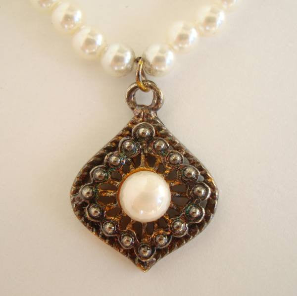 Pearl Necklace Antiqued Pendant Vintage Jewelry