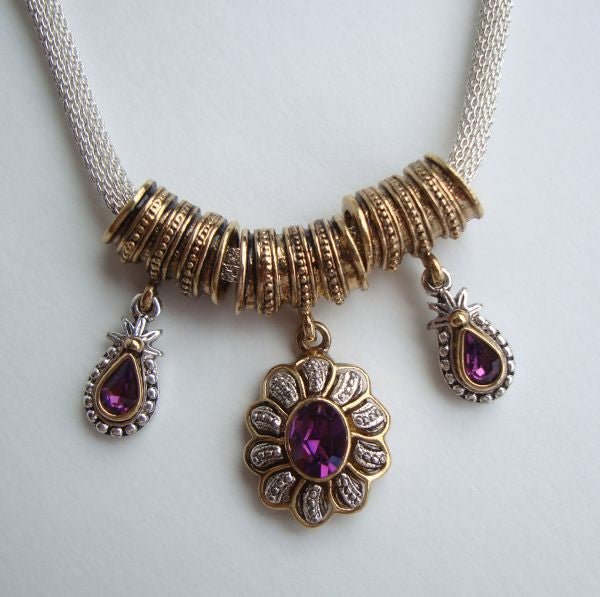 1928 Co. Amethyst Rhinestone Slider Necklace Victorian Style Jewelry