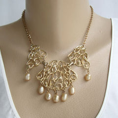Sarah Coventry Venetian Lace Bib Necklace Early 1960s Vintage Jewelry