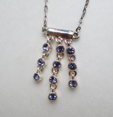 Purplish Blue Rhinestone Drop Necklace On Sale As Is