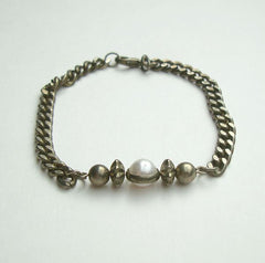 Retro Antiqued Curb Link Bracelet Atomic Pearl Vintage Jewelry