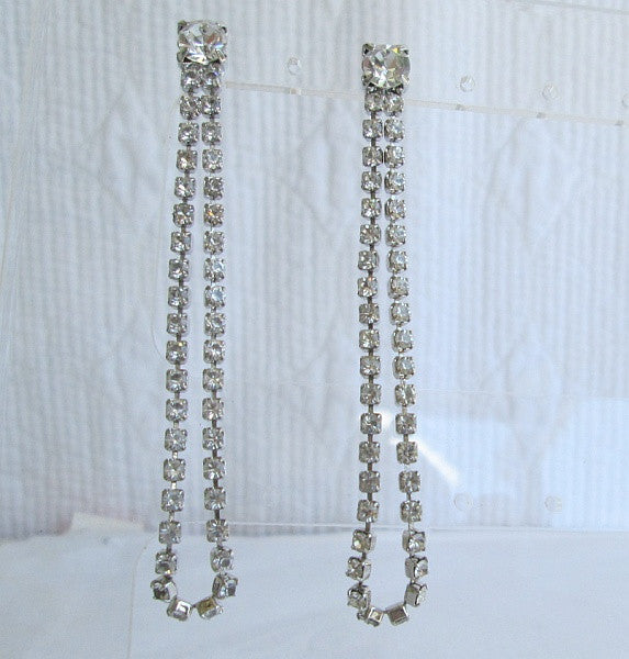 Long Rhinestone Dangle Earrings Post Style Sparkling Jewelry