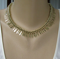 Germany Goldtone Eloxal Aluminum Fringe Necklace Lightweight Vintage Jewelry