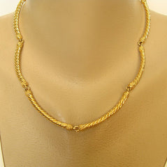 JF Signed Shiny Goldtone Curved Twisted Link Necklace Designer Jewelry