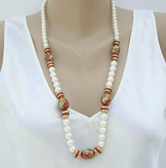 Japan White Pearl Maroon Milifiori-Style Bead Necklace Vintage Jewelry