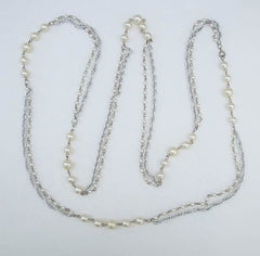Flapper Length Pearl Necklace 53 Inches Multistrand Sections