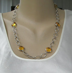 Chain Necklace Wire Wrapped Topaz Accents Faceted Jewelry