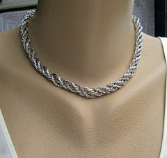 Monet Thick Byzantine Chain Necklace Textured Silvertone Vintage Jewelry