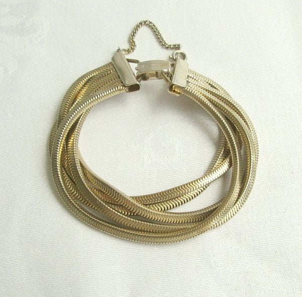 5 Strand Serpentine Chain Bracelet Goldtone with Safety Chain