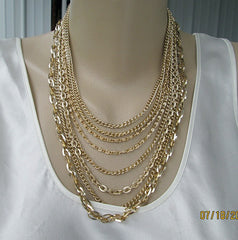 Germany 8-Strand Goldtone Elexol Chain Necklace Lightweight Vintage Jewelry