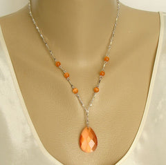 Avon Orange Faceted Glass Pendant Necklace Cat's Eye Beads