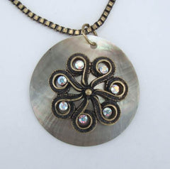 Antiqued Metal Abalone Pendant Necklace AB Rhinestones Box Chain Jewelry