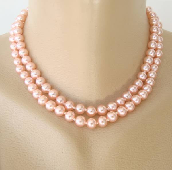 9018b37e1d Japan Pink Glass Double Strand Necklace Rhinestone Clasp Vintage Jewelry
