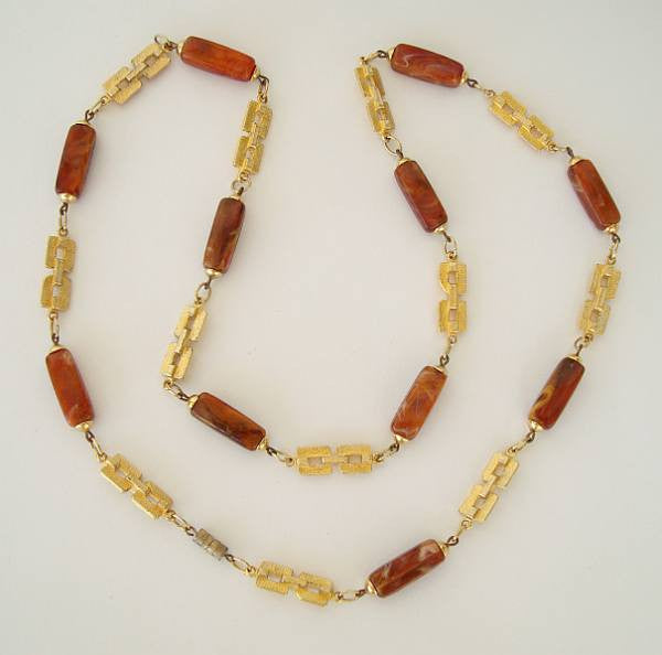 Long Faux Agate Bead Necklace Geometric Accents Vintage Jewelry