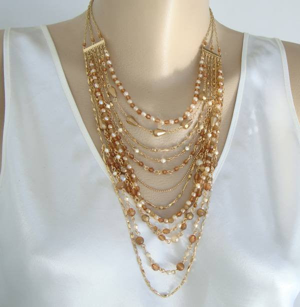 Nancy and Rise 9-Strand Swag Necklace Fab Beads Vintage Jewelry