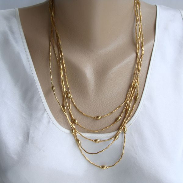 5-Strand 'Liquid Gold' Chain Necklace Bead Accents Vintage Jewelry