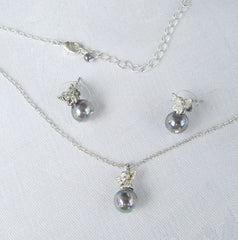 Delicate Angel Set Gray Pearls Rhinestones Pendant Necklace Post Earrings Vintage Jewelry