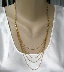 Fine 5-Strand Chain Swag Necklace Delicate Vintage Jewelry