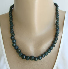 Chrysoprase Dark Green Bead Necklace 20 inches Gemstone Jewelry