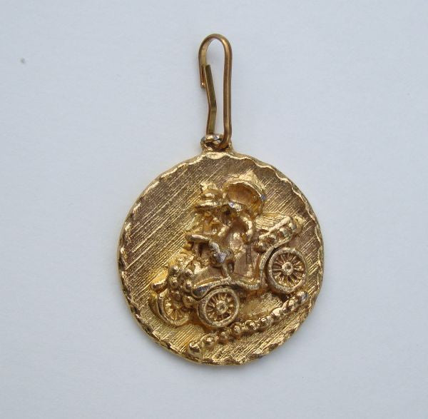 Goldtone Jalopy Pendant Fob Car Collector or Restorer Jewelry