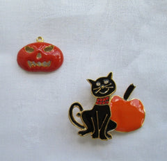 Halloween Pin and Pendant Black Cat Red Rhinestones Orange Pumpkins Holidy Jewelry