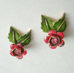 Red Green Floral Clip On Earrings Pink Rhinestones Vintage Jewelry