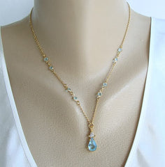 Avon Aquamarine Rhinestone Pendant Necklace