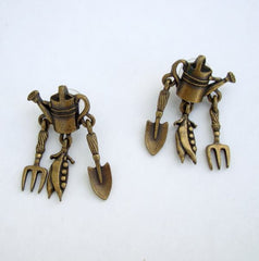 JJ Brass Gardening Garden Earrings Post Style Vintage Jewelry