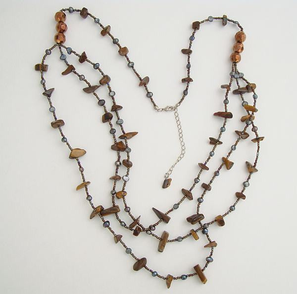 Long 36-inch Tigers Eye Labradorite Multi-Strand Swag Necklace Gemstone Jewelry