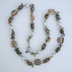 Les Bernard Abalone Aventurine Faux Pearl Necklace Vintage Jewelry