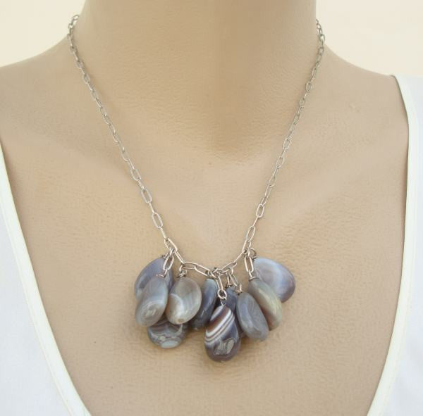 J Jill Gray Agate Cluster Necklace Gemstone Jewelry
